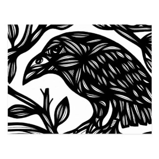Magpie Bird Black and White Postcard