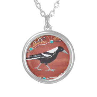Magpie Dreaming Round Pendant Necklace