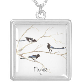 Magpie Family to Customise, Bird Collection Square Pendant Necklace