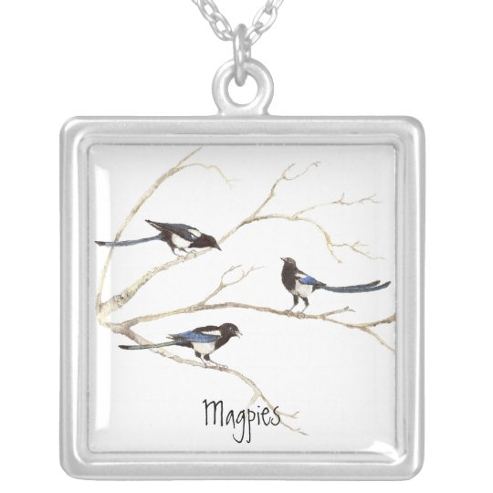 Magpie Family to Customise, Bird Collection Silver Plated Necklace