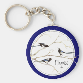 Magpie Family to Customize, Bird Collection Basic Round Button Key Ring