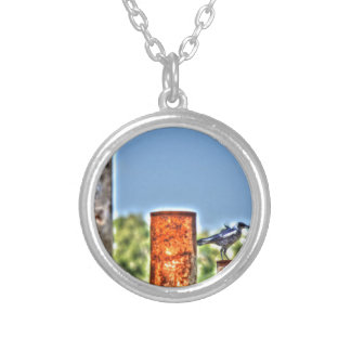MAGPIE ON RUSTY POLE ART EFFECTS RURAL AUSTRALIA ROUND PENDANT NECKLACE