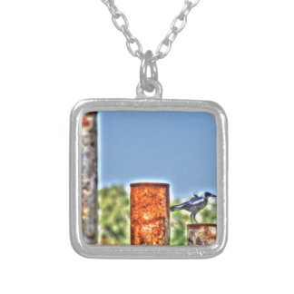 MAGPIE ON RUSTY POLE ART EFFECTS RURAL AUSTRALIA SQUARE PENDANT NECKLACE
