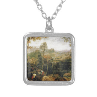 Magpie on the Gallows by Pieter Bruegel Silver Plated Necklace