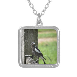MAGPIE SITTING ON A FENCE RURAL AUSTRALIA SQUARE PENDANT NECKLACE