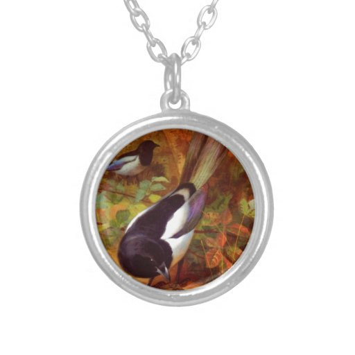 Magpie wild bird pendant