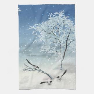 Magpie Winter Landscape Kitchen Towel