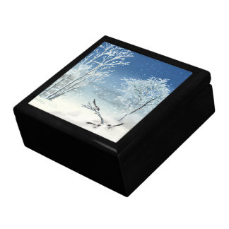 Magpie Winter Landscape Trinket Box