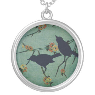 Magpies Round Pendant Necklace