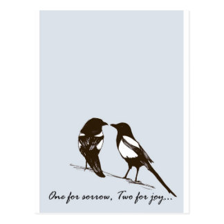 magpies - one for sorrow two for joy postcards
