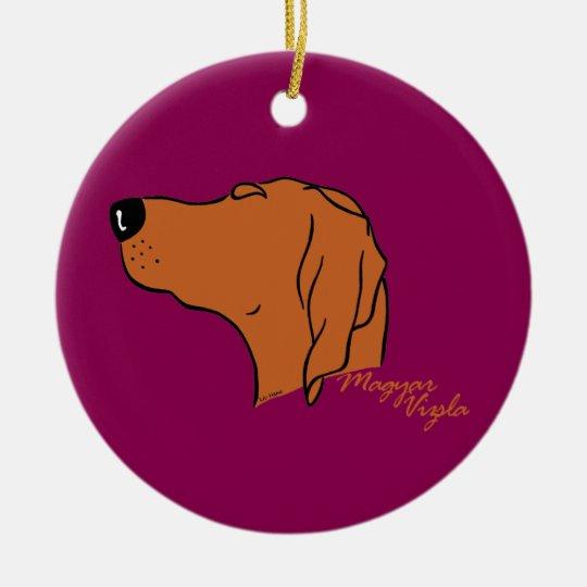 Magyar Vizsla head silhouette Christmas Ornament