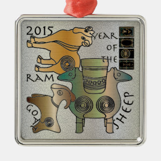 Mah Jongg 2015 Year of the Sheep Ram Goat Silver-Colored Square Decoration