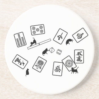 Mah-jongg cat mahjong cat beverage coasters