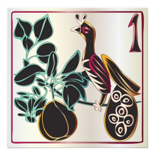 Mah Jongg Christmas Pear and Bird Personalized Announcements