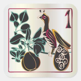 Mah Jongg Christmas Pear and Bird Square Sticker