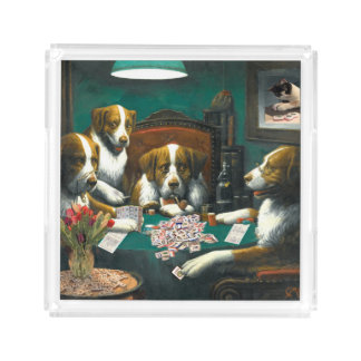 Mah Jongg Dogs Playing Poker Tray