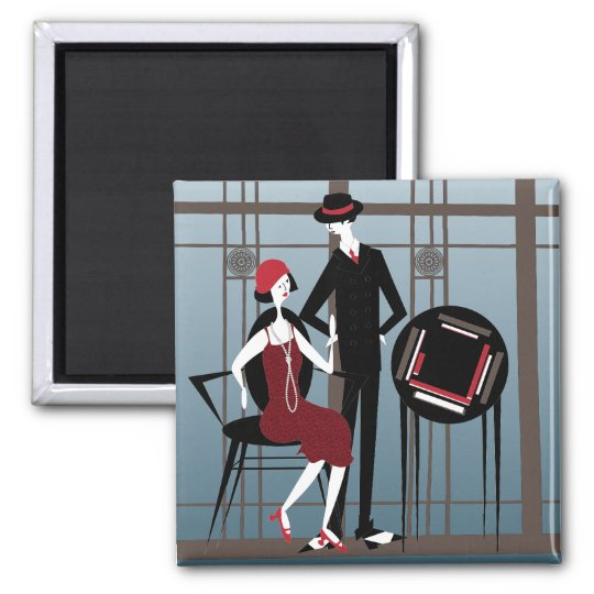 Mah Jongg Flappers Couple Magnet