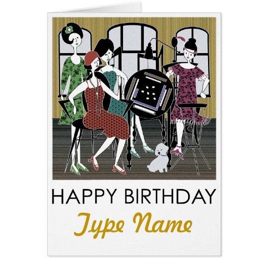 Mah Jongg Flappers Dog Birthday Card