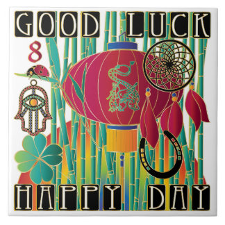Mah Jongg Good Luck Happy Day Large Square Tile