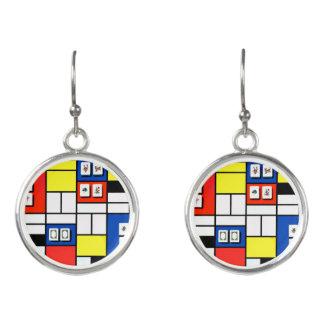 Mah Jongg Mondrian Style Earrings