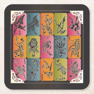 Mah Jongg One Bams Square Paper Coaster