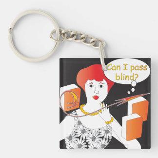 Mah Jongg Sayings Pass Blind Single-Sided Square Acrylic Key Ring