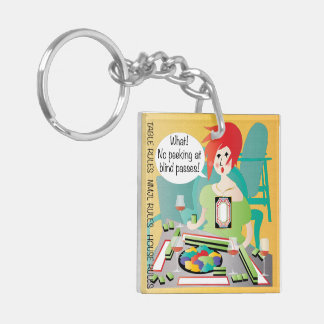 Mah Jongg Sayings Peek Pass Double-Sided Square Acrylic Key Ring