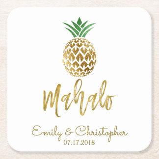 Mahalo Tropical Hawaiian Pineapple Wedding White Square Paper Coaster