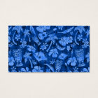 Mahapuu Beach Hawaiian Batik Tonal Blue Business Card