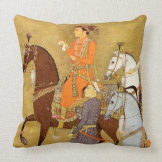 Maharaja on Horseback, Gold Mughal Throw Pillow