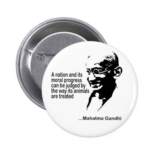 Mahatma Gandhi Animal Rights Pinback Button