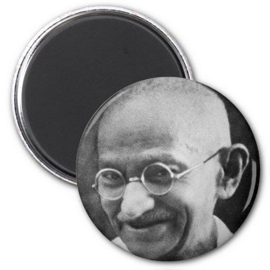 Mahatma Ghandi Portrait Photograph 6 Cm Round Magnet
