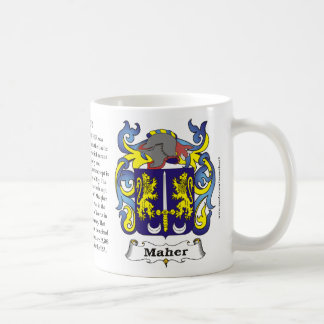 Maher, Origin, Meaning and the Crest on a mug