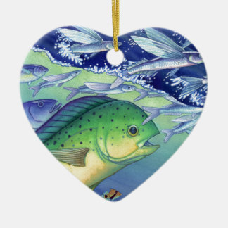 Mahi Mahi (Dolphin Fish) chasing Flying Fish Ceramic Heart Decoration