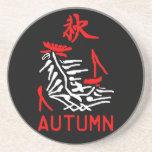 Mahjong Autumn Coaster, Black Background