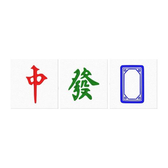 Mahjong Dragon Tiles Trio - 3 Panel Canvas Print