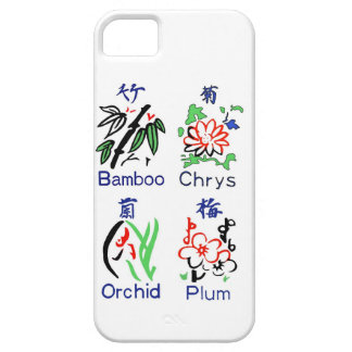 Mahjong Flower Suits,Blue,Red,Green,Black on White Case For The iPhone 5