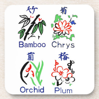 Mahjong Flower Suits,Blue,Red,Green,Black on White Coaster