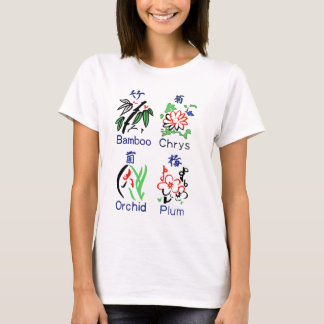 Mahjong Flower Suits,Blue,Red,Green,Black on White T-Shirt