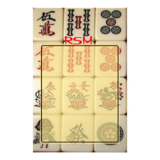 Mahjong monogram stationery
