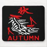 Mahjong Tile, Autumn / Fall , On Black Background Mousepads