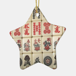 Mahjong tiles and Panda monogrammed Christmas Ornament