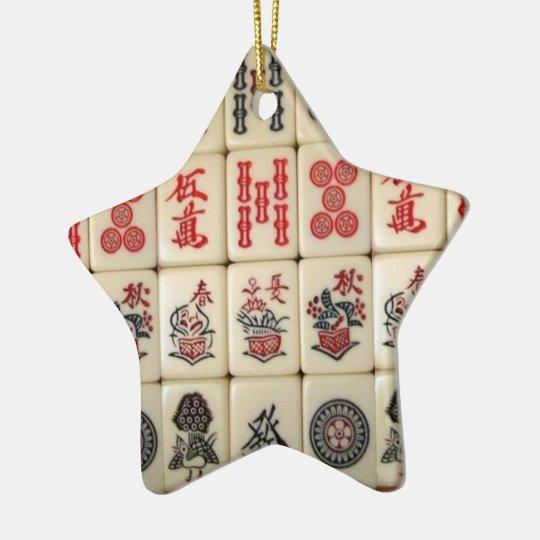 Mahjong tiles and Panda monogrammed Christmas Ornament
