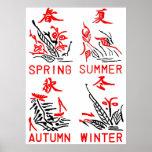 Mahjong Tiles, Four Seasons , On White Background Print