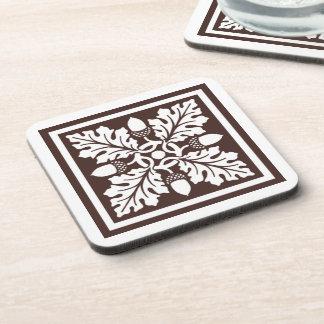 Mahogany Acorn and Leaf Tile Design Coaster