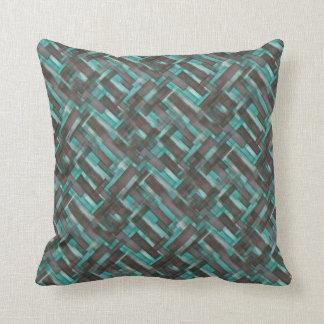 Mahogany Aqua Crosshatch Pattern Throw Pillow