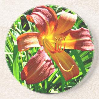 Mahogany red yellow tiger lily coaster