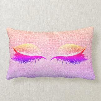 Maiami Disco Blush Glitter Black Glam Makeup Pink Lumbar Pillow