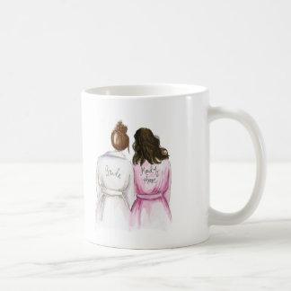 Maid of Honor? Auburn Bun Bride Dark Waves Maid Coffee Mug