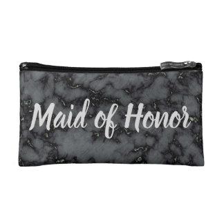 Maid of Honor Black Marble Makeup Bag